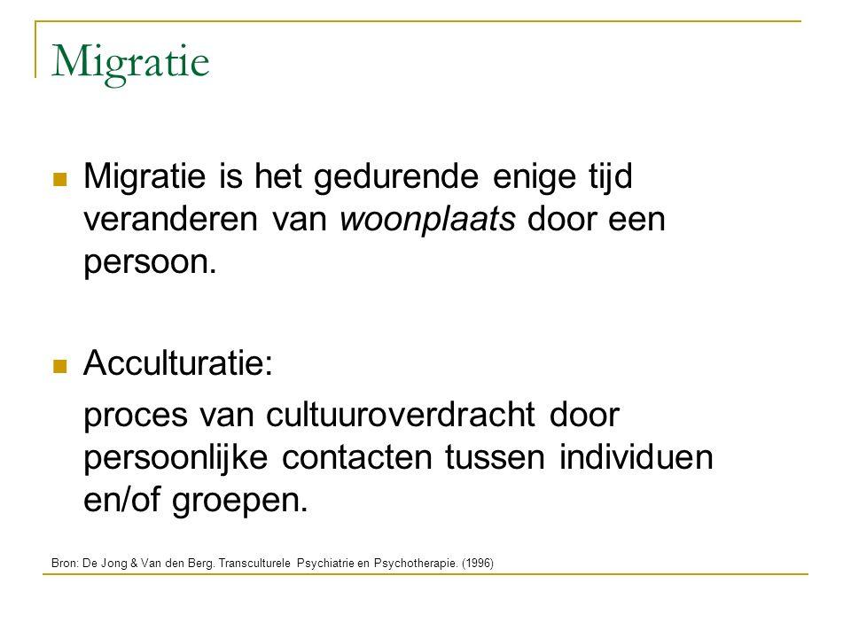 Acculturatieproces Integratie: interetnisch contact met behoud van eigen culturele identiteit Assimilatie: interetnisch contact zonder behoud eigen culturele identiteit Bron: De Jong & Van den Berg.