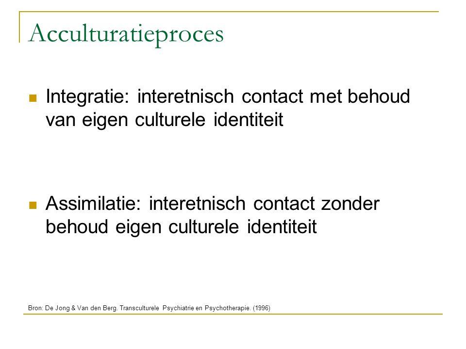 Acculturatieproces Integratie: interetnisch contact met behoud van eigen culturele identiteit Assimilatie: interetnisch contact zonder behoud eigen cu