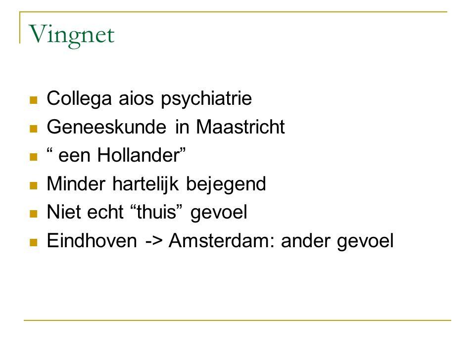 """Vingnet Collega aios psychiatrie Geneeskunde in Maastricht """" een Hollander"""" Minder hartelijk bejegend Niet echt """"thuis"""" gevoel Eindhoven -> Amsterdam:"""