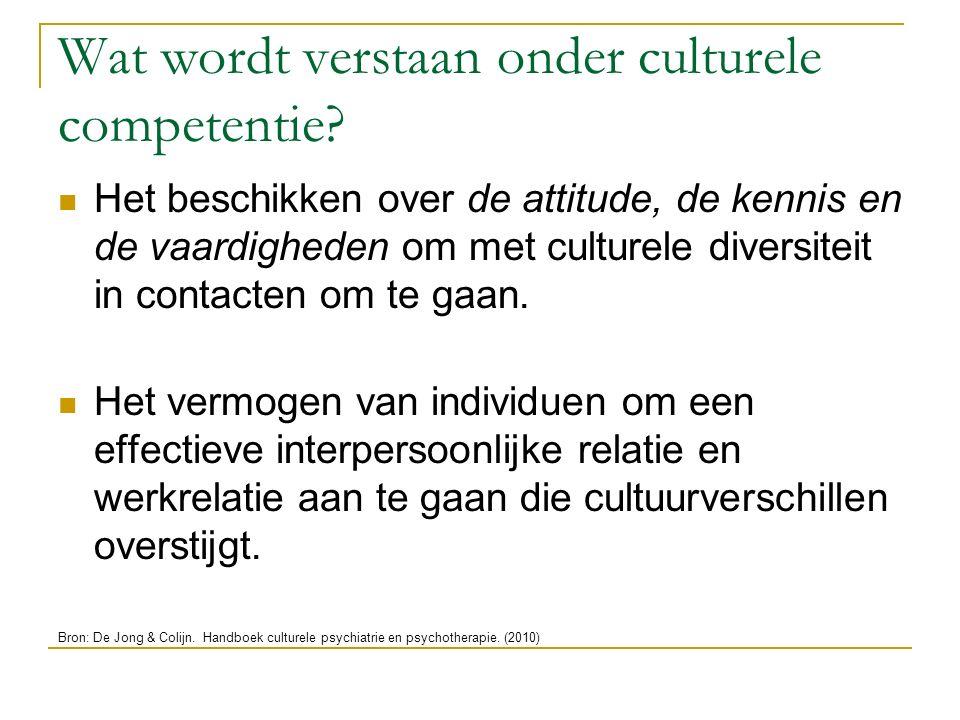Wat wordt verstaan onder culturele competentie? Het beschikken over de attitude, de kennis en de vaardigheden om met culturele diversiteit in contacte