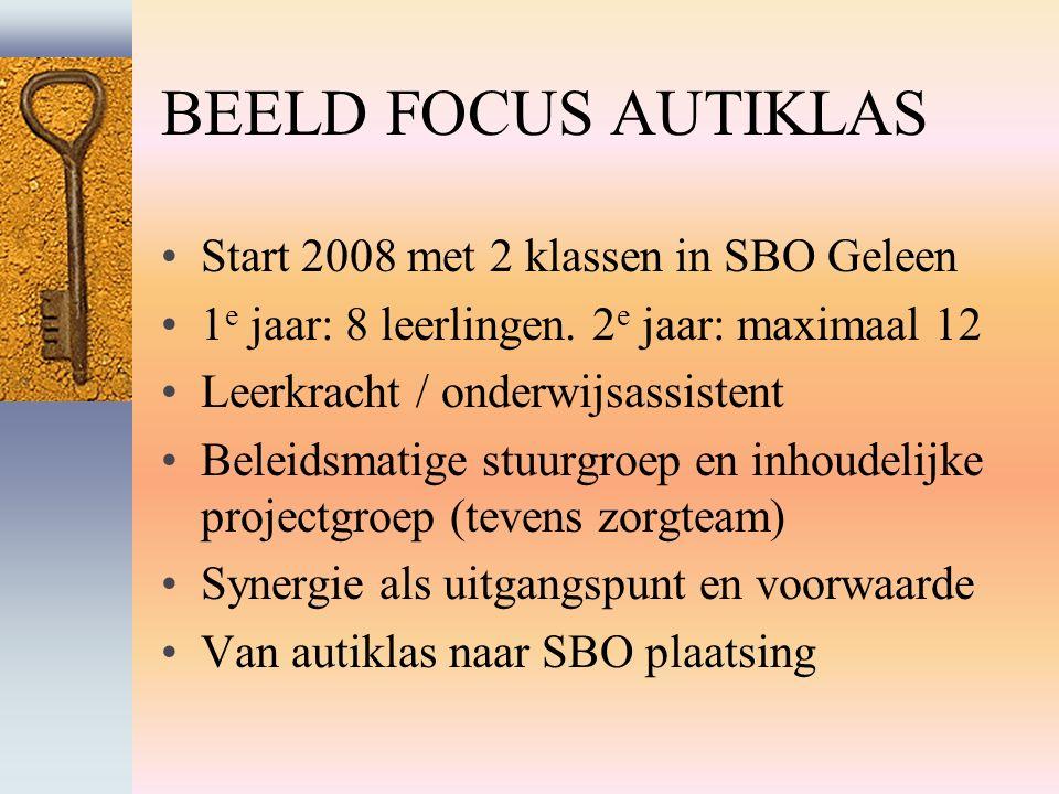BEELD FOCUS AUTIKLAS Start 2008 met 2 klassen in SBO Geleen 1 e jaar: 8 leerlingen.