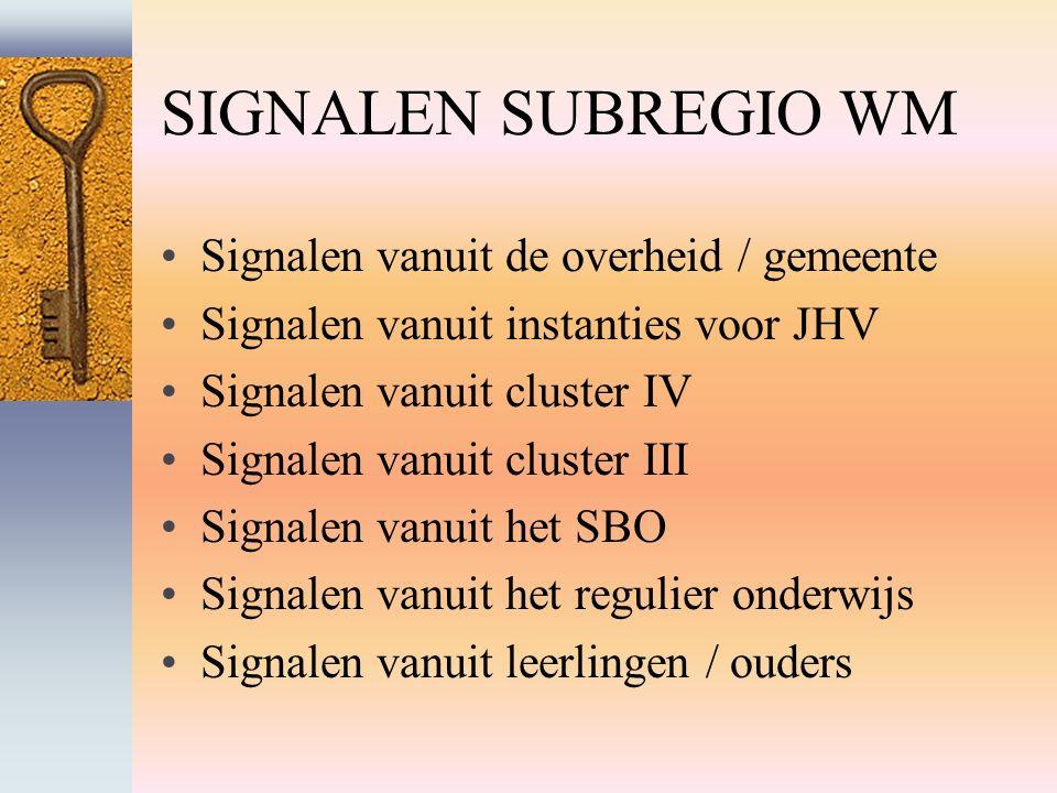 SIGNALEN SUBREGIO WM Signalen vanuit de overheid / gemeente Signalen vanuit instanties voor JHV Signalen vanuit cluster IV Signalen vanuit cluster III Signalen vanuit het SBO Signalen vanuit het regulier onderwijs Signalen vanuit leerlingen / ouders