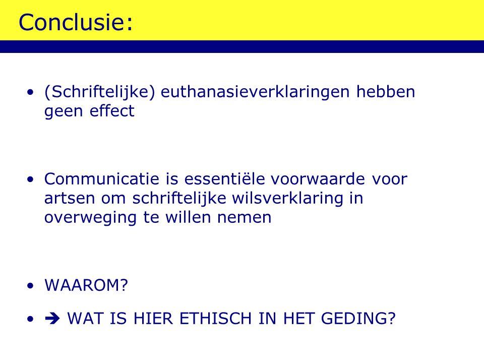 Conclusie: (Schriftelijke) euthanasieverklaringen hebben geen effect Communicatie is essentiële voorwaarde voor artsen om schriftelijke wilsverklaring