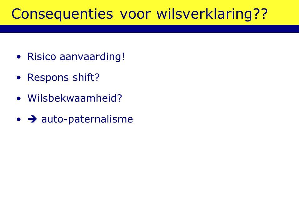 Consequenties voor wilsverklaring?? Risico aanvaarding! Respons shift? Wilsbekwaamheid?  auto-paternalisme