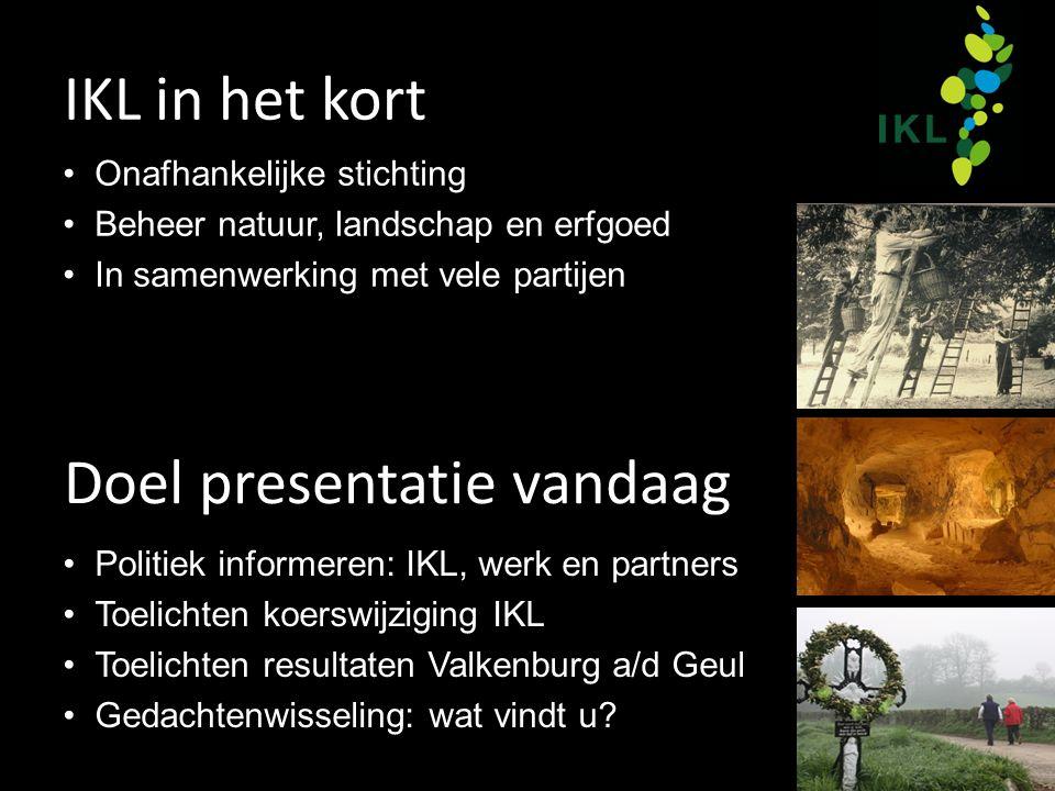 IKL in het kort Onafhankelijke stichting Beheer natuur, landschap en erfgoed In samenwerking met vele partijen Doel presentatie vandaag Politiek infor