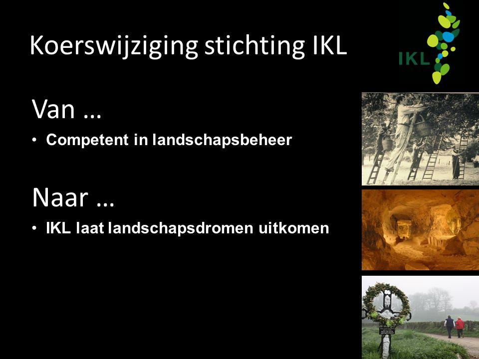 Koerswijziging stichting IKL Van … Competent in landschapsbeheer Naar … IKL laat landschapsdromen uitkomen