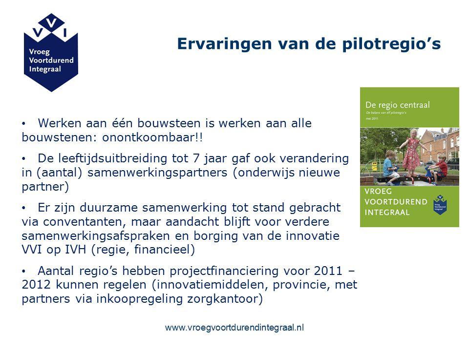 www.vroegvoortdurendintegraal.nl Ervaringen van de pilotregio's Werken aan één bouwsteen is werken aan alle bouwstenen: onontkoombaar!.