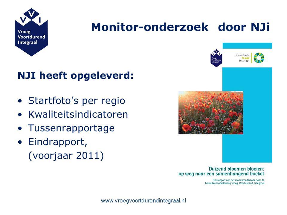 www.vroegvoortdurendintegraal.nl Monitor-onderzoek door NJi NJI heeft opgeleverd: Startfoto's per regio Kwaliteitsindicatoren Tussenrapportage Eindrapport, (voorjaar 2011)