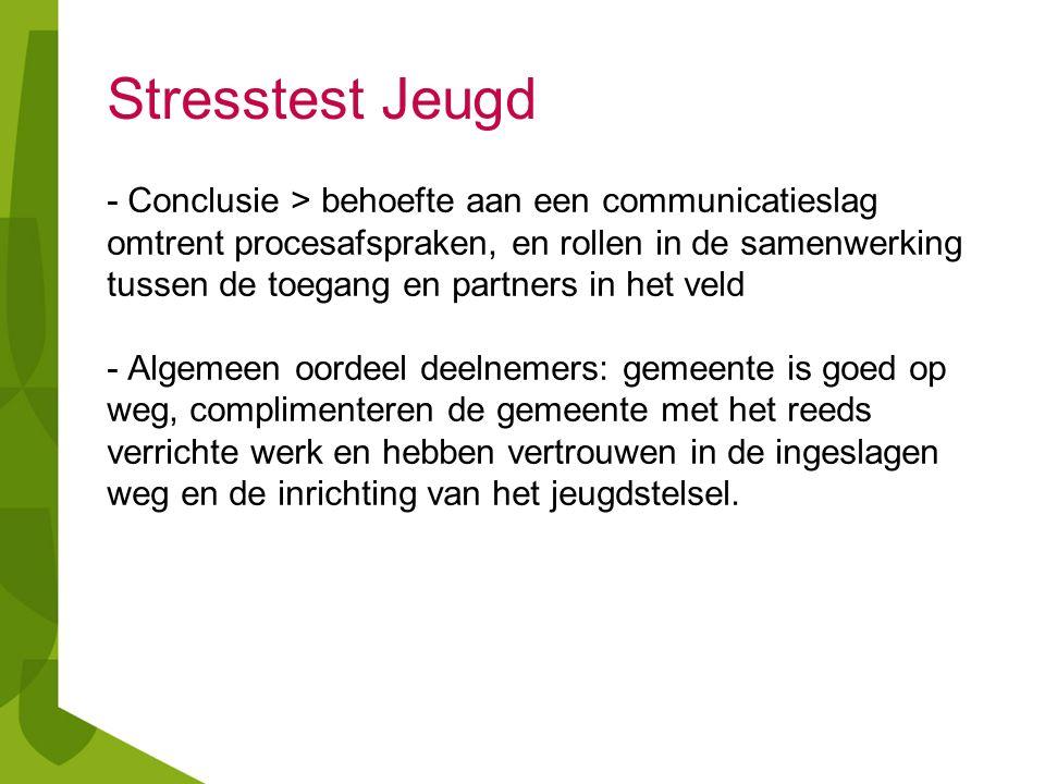 Stresstest Jeugd - Conclusie > behoefte aan een communicatieslag omtrent procesafspraken, en rollen in de samenwerking tussen de toegang en partners i