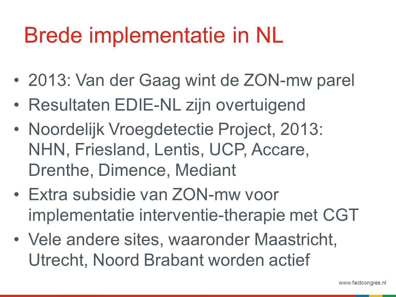 www.factcongres.nl Brede implementatie in NL 2013: Van der Gaag wint de ZON-mw parel Resultaten EDIE-NL zijn overtuigend Noordelijk Vroegdetectie Project, 2013: NHN, Friesland, Lentis, UCP, Accare, Drenthe, Dimence, Mediant Extra subsidie van ZON-mw voor implementatie interventie-therapie met CGT Vele andere sites, waaronder Maastricht, Utrecht, Noord Brabant worden actief