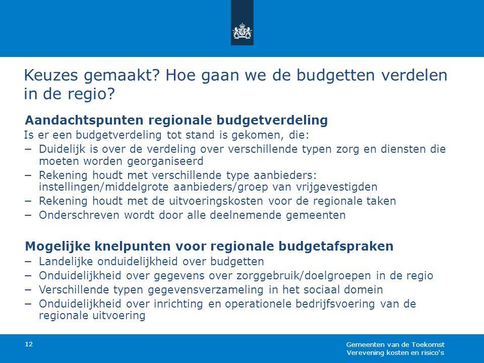 Keuzes gemaakt? Hoe gaan we de budgetten verdelen in de regio? 12 Aandachtspunten regionale budgetverdeling Is er een budgetverdeling tot stand is gek