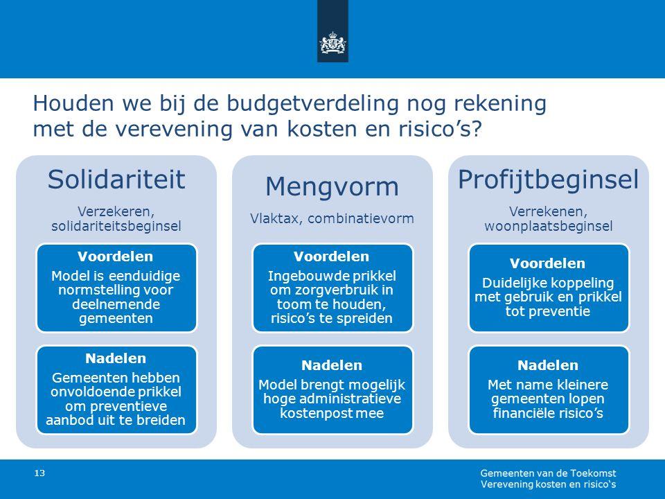 Houden we bij de budgetverdeling nog rekening met de verevening van kosten en risico's? 13 Solidariteit Verzekeren, solidariteitsbeginsel Voordelen Mo