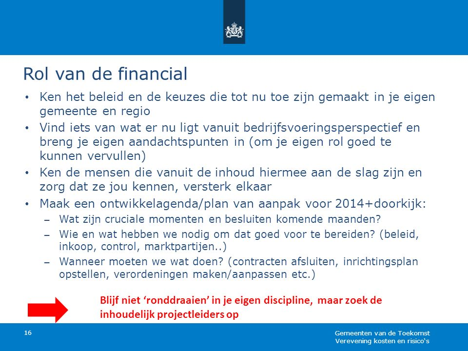 Rol van de financial 16 Ken het beleid en de keuzes die tot nu toe zijn gemaakt in je eigen gemeente en regio Vind iets van wat er nu ligt vanuit bedr
