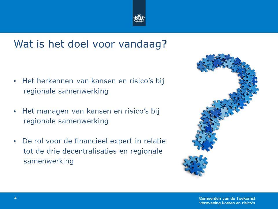 Wat is het doel voor vandaag? 4 Het herkennen van kansen en risico's bij regionale samenwerking Het managen van kansen en risico's bij regionale samen