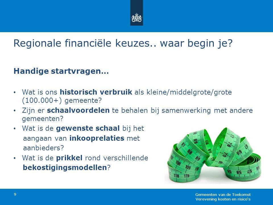 Regionale financiële keuzes.. waar begin je? Handige startvragen… Wat is ons historisch verbruik als kleine/middelgrote/grote (100.000+) gemeente? Zij