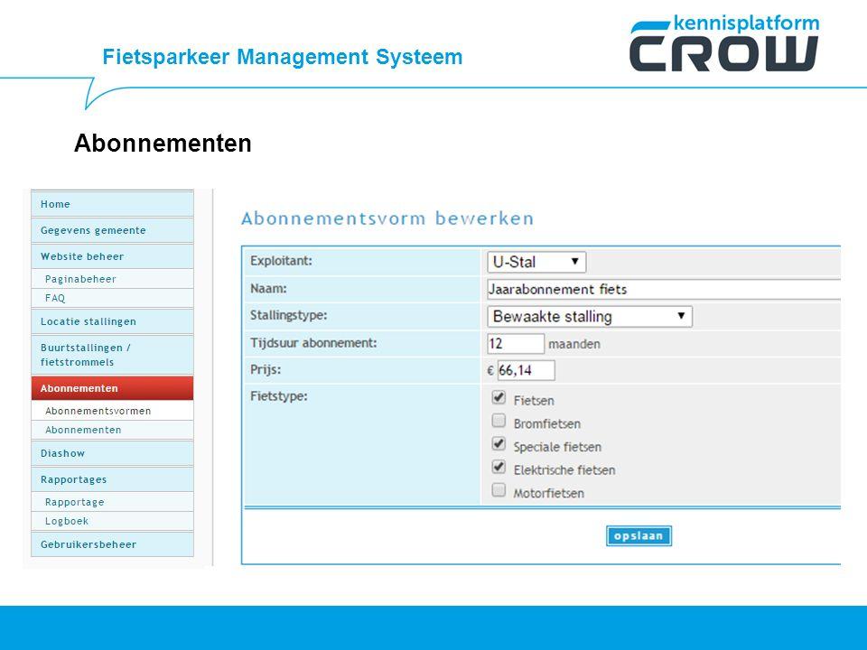 Fietsparkeer Management Systeem Abonnementen