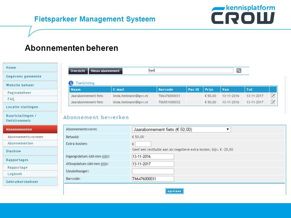 Fietsparkeer Management Systeem Abonnementen beheren