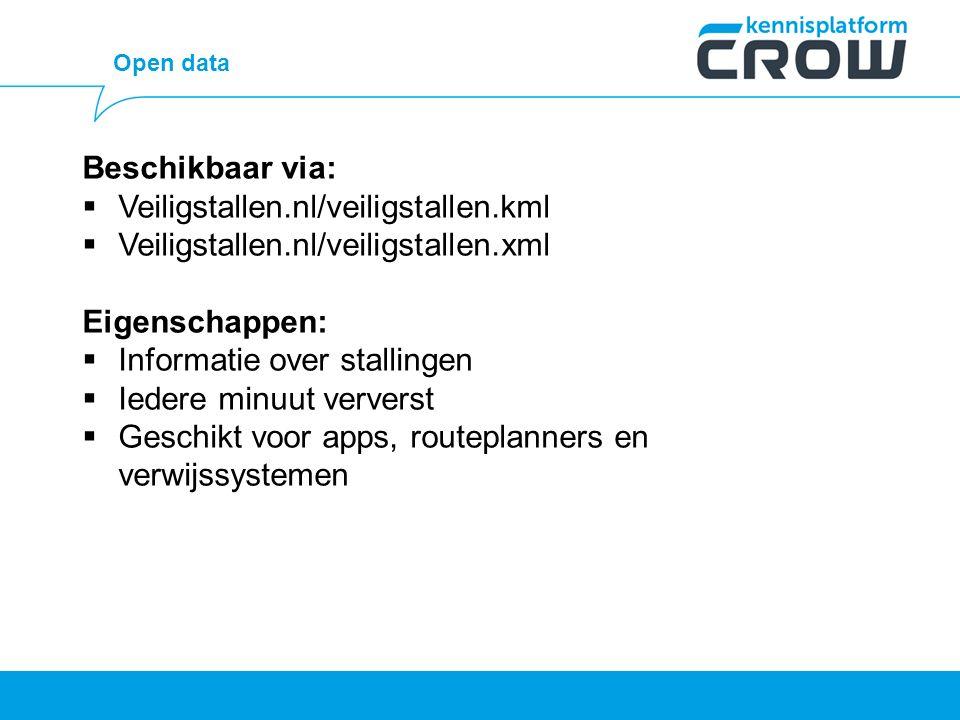 Open data Beschikbaar via:  Veiligstallen.nl/veiligstallen.kml  Veiligstallen.nl/veiligstallen.xml Eigenschappen:  Informatie over stallingen  Iedere minuut ververst  Geschikt voor apps, routeplanners en verwijssystemen