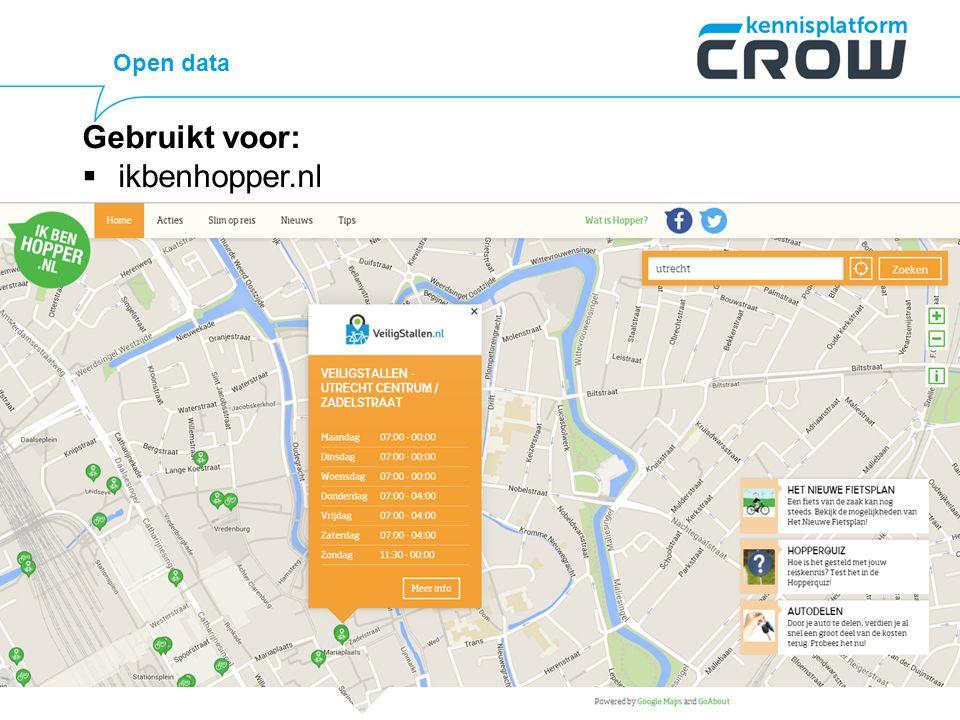 Open data Gebruikt voor:  ikbenhopper.nl