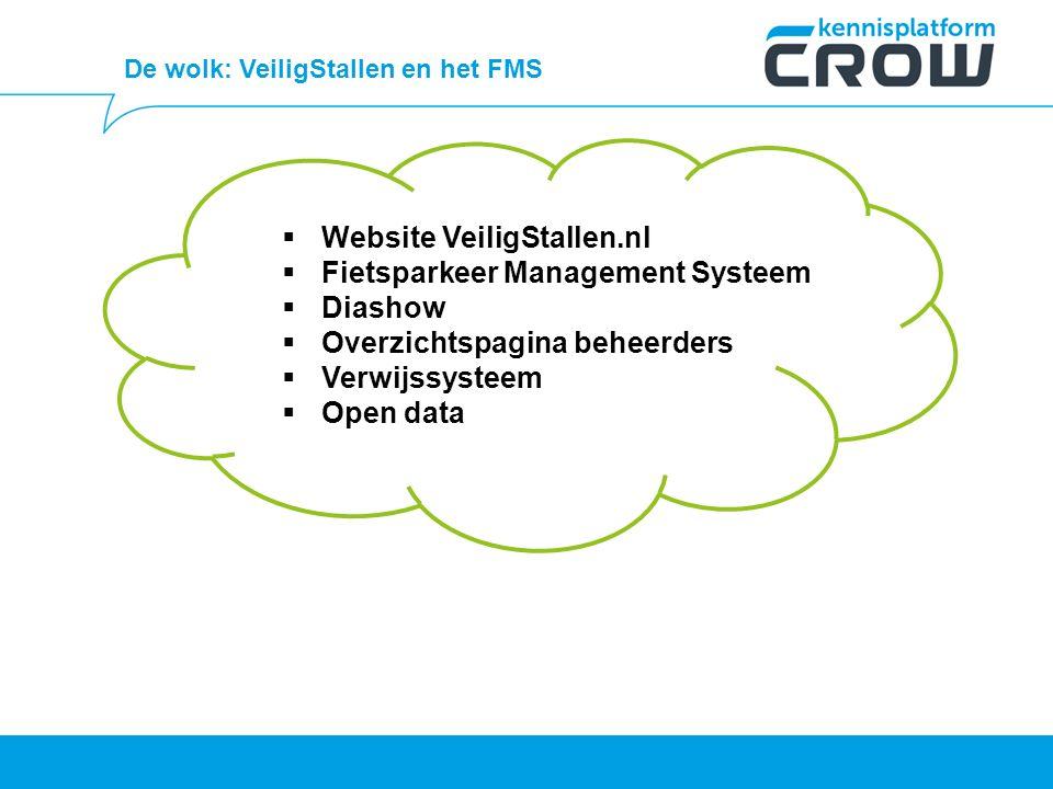 De wolk: VeiligStallen en het FMS  Website VeiligStallen.nl  Fietsparkeer Management Systeem  Diashow  Overzichtspagina beheerders  Verwijssysteem  Open data