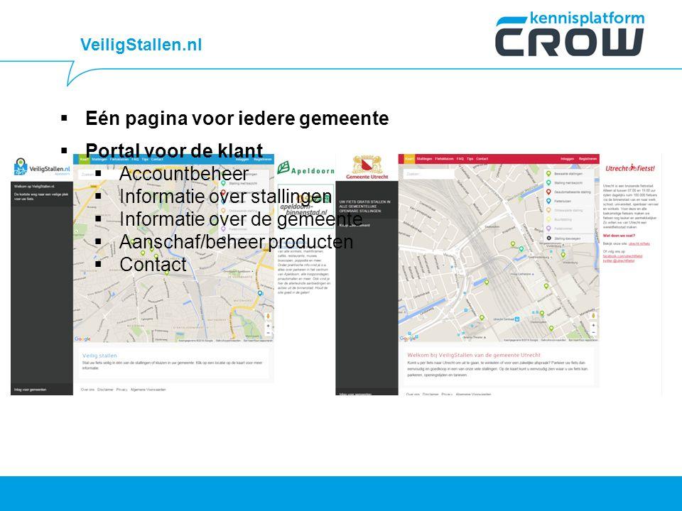VeiligStallen.nl  Eén pagina voor iedere gemeente  Portal voor de klant  Accountbeheer  Informatie over stallingen  Informatie over de gemeente  Aanschaf/beheer producten  Contact