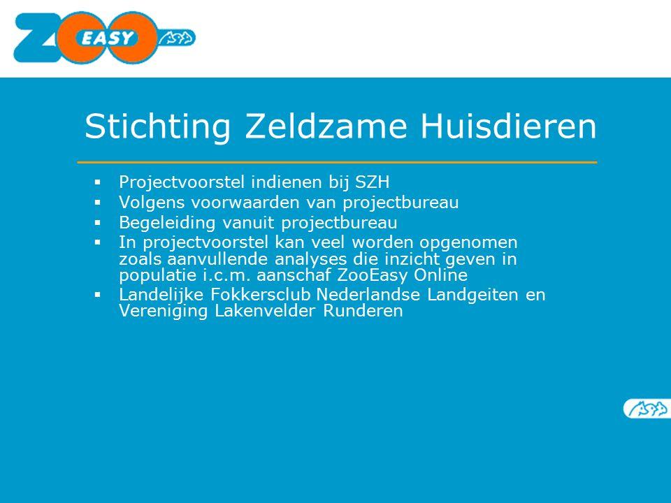 Stichting Zeldzame Huisdieren  Projectvoorstel indienen bij SZH  Volgens voorwaarden van projectbureau  Begeleiding vanuit projectbureau  In proje