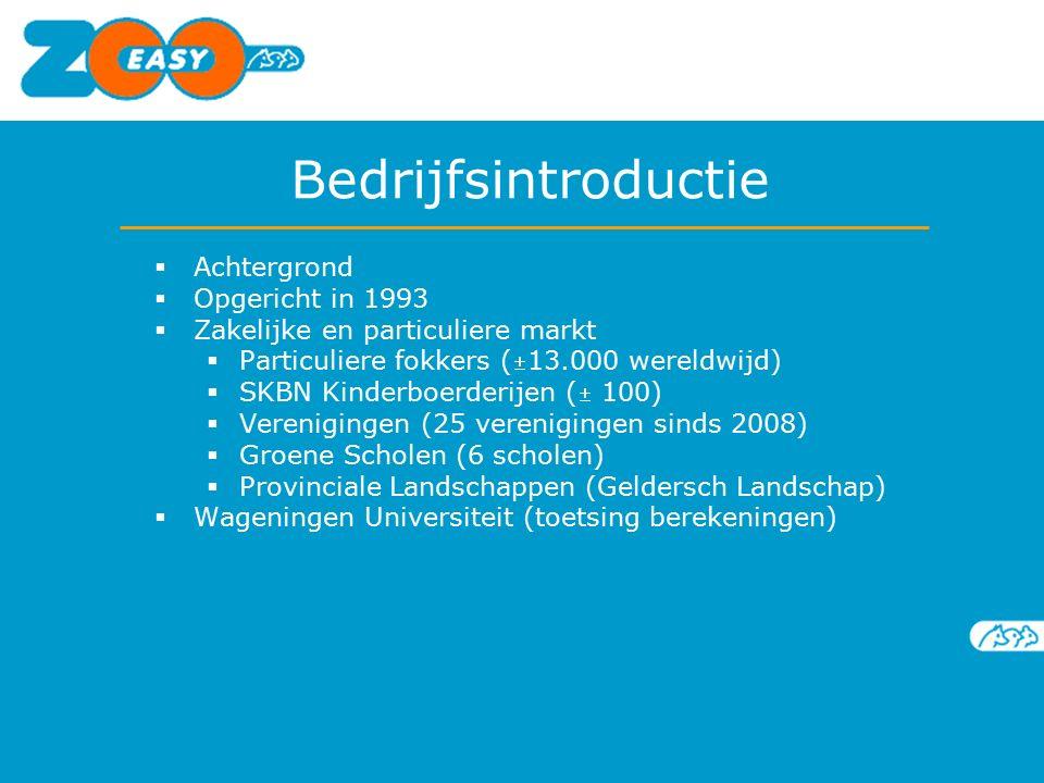 Bedrijfsintroductie  Achtergrond  Opgericht in 1993  Zakelijke en particuliere markt  Particuliere fokkers (13.000 wereldwijd)  SKBN Kinderboerderijen ( 100)  Verenigingen (25 verenigingen sinds 2008)  Groene Scholen (6 scholen)  Provinciale Landschappen (Geldersch Landschap)  Wageningen Universiteit (toetsing berekeningen)