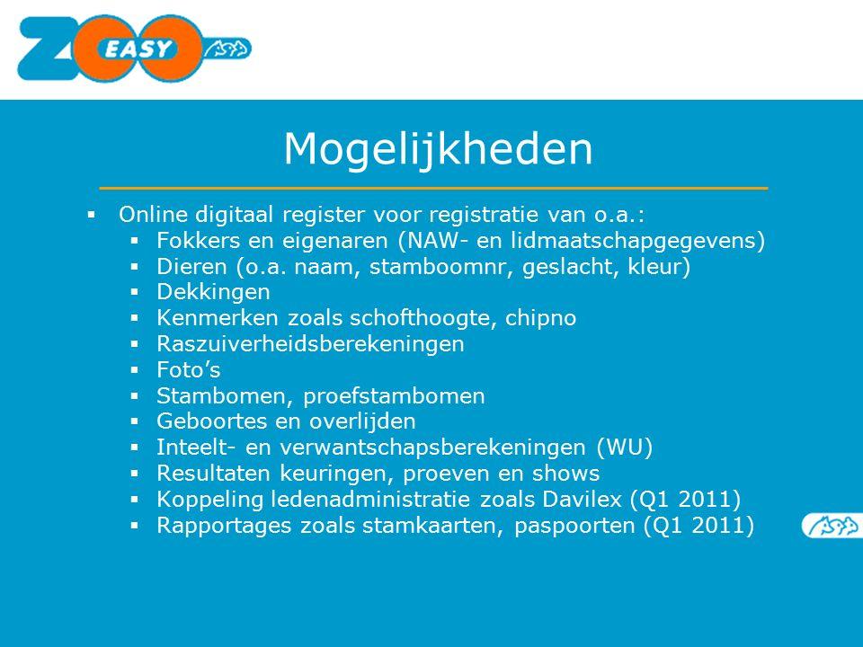 Mogelijkheden  Online digitaal register voor registratie van o.a.:  Fokkers en eigenaren (NAW- en lidmaatschapgegevens)  Dieren (o.a. naam, stamboo