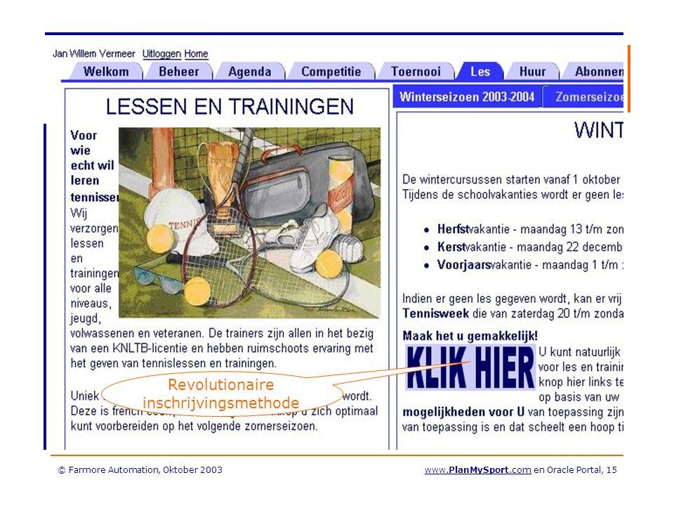 © Farmore Automation, Oktober 2003www.PlanMySport.com en Oracle Portal, 15 Revolutionaire inschrijvingsmethode