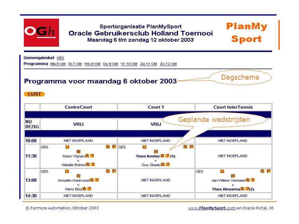 © Farmore Automation, Oktober 2003www.PlanMySport.com en Oracle Portal, 36 Dagschema Geplande wedstrijden