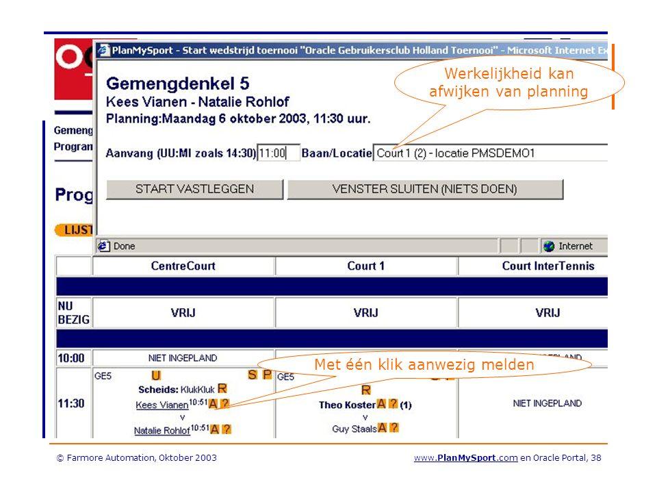 © Farmore Automation, Oktober 2003www.PlanMySport.com en Oracle Portal, 38 Werkelijkheid kan afwijken van planning Met één klik aanwezig melden