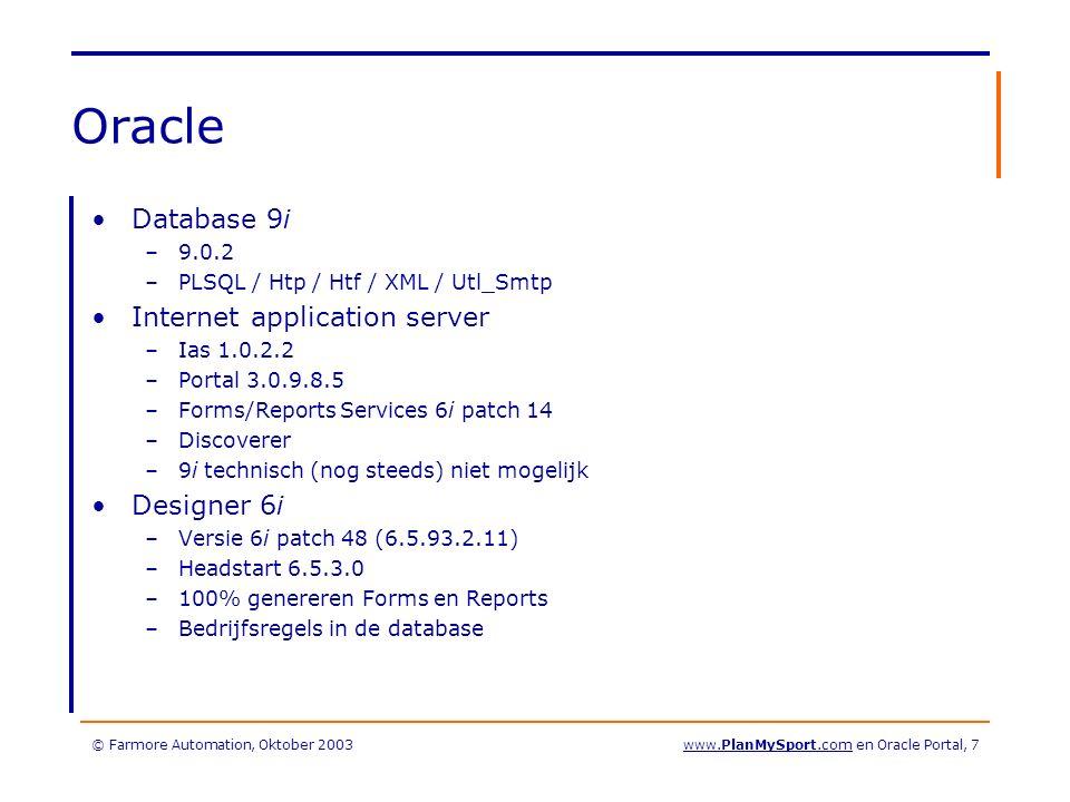 © Farmore Automation, Oktober 2003www.PlanMySport.com en Oracle Portal, 18 Stap 3: Welke les wil ik.