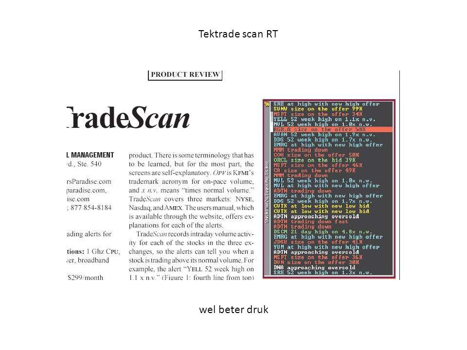 Tektrade scan RT wel beter druk