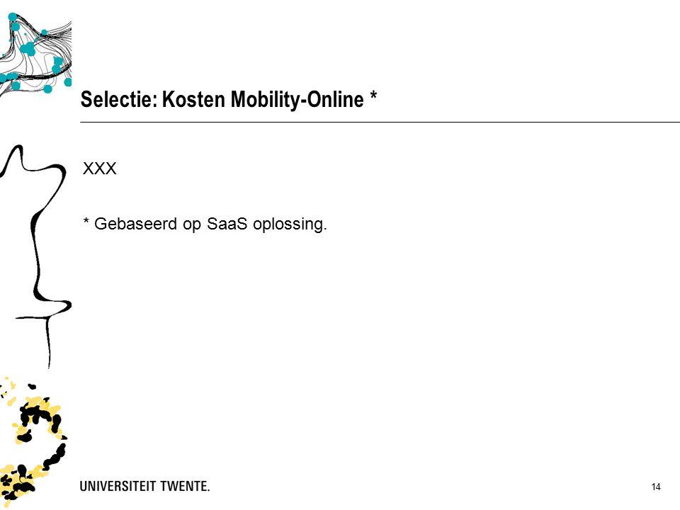 14 Selectie: Kosten Mobility-Online * XXX * Gebaseerd op SaaS oplossing.