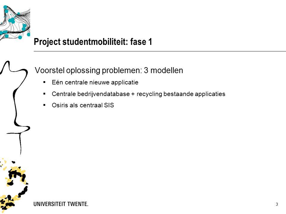 3 Project studentmobiliteit: fase 1 Voorstel oplossing problemen: 3 modellen  Eén centrale nieuwe applicatie  Centrale bedrijvendatabase + recycling bestaande applicaties  Osiris als centraal SIS