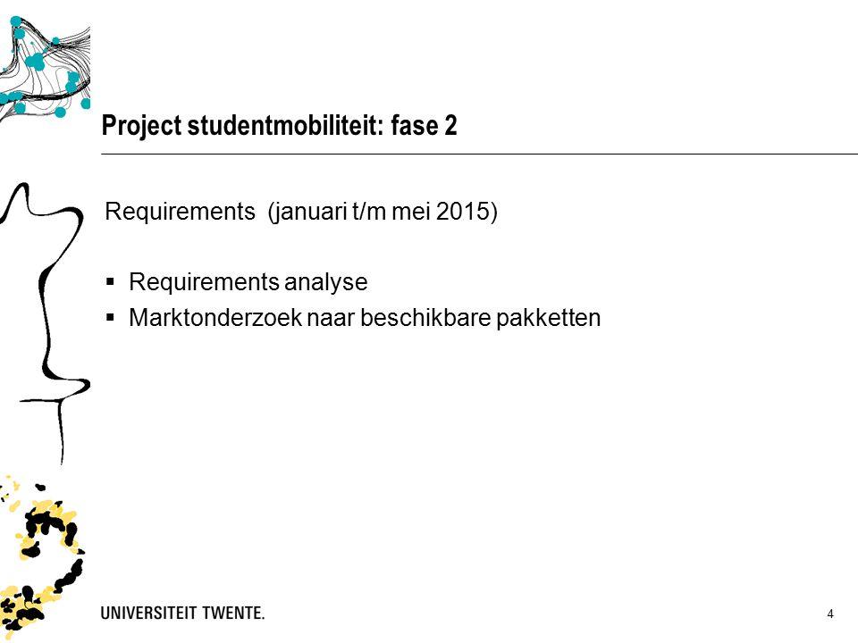 4 Project studentmobiliteit: fase 2 Requirements (januari t/m mei 2015)  Requirements analyse  Marktonderzoek naar beschikbare pakketten