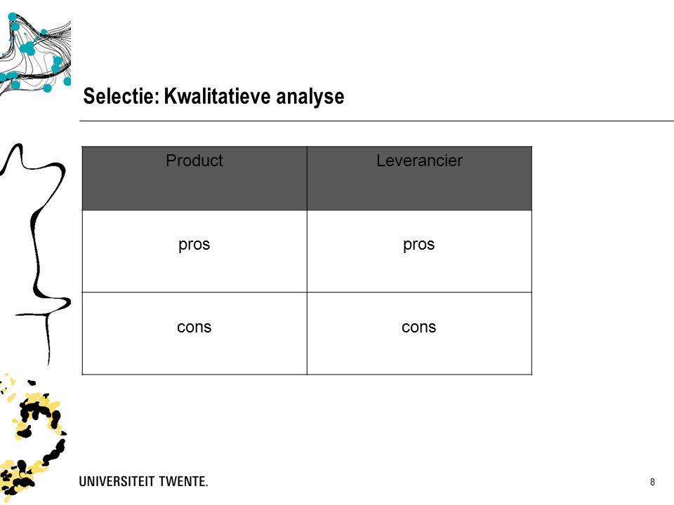 8 Selectie: Kwalitatieve analyse ProductLeverancier pros cons