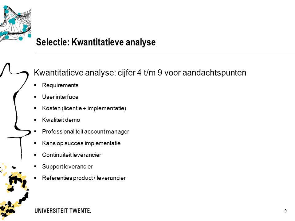 10 Selectie: kwantitatieve analyse Resultaat 1.Mobility-Online 7.3 2.MoveON 7.2 3.Osiris 5.4