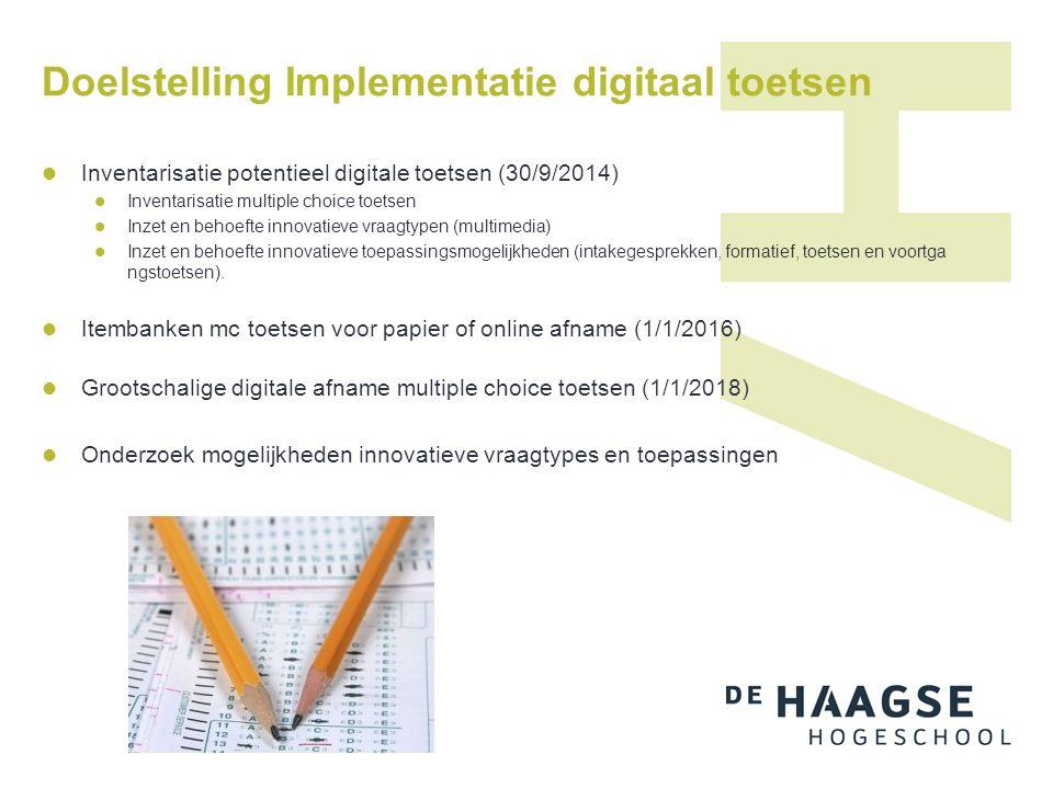 Doelstelling Implementatie digitaal toetsen Inventarisatie potentieel digitale toetsen (30/9/2014) Inventarisatie multiple choice toetsen Inzet en behoefte innovatieve vraagtypen (multimedia) Inzet en behoefte innovatieve toepassingsmogelijkheden (intakegesprekken, formatief, toetsen en voortga ngstoetsen).