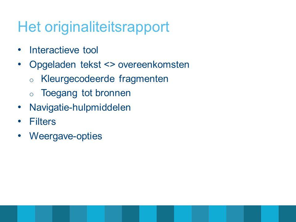 Het originaliteitsrapport Interactieve tool Opgeladen tekst <> overeenkomsten o Kleurgecodeerde fragmenten o Toegang tot bronnen Navigatie-hulpmiddelen Filters Weergave-opties