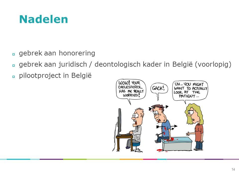 Nadelen gebrek aan honorering gebrek aan juridisch / deontologisch kader in België (voorlopig) pilootproject in België 14