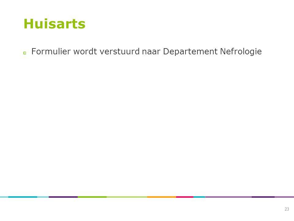 Huisarts Formulier wordt verstuurd naar Departement Nefrologie 23