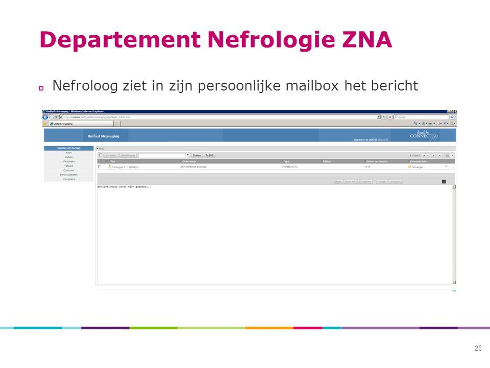 Departement Nefrologie ZNA Nefroloog ziet in zijn persoonlijke mailbox het bericht 26