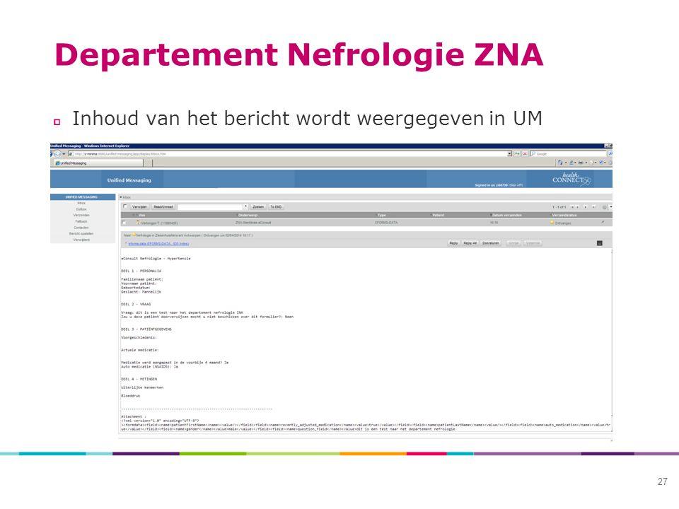 Departement Nefrologie ZNA Inhoud van het bericht wordt weergegeven in UM 27