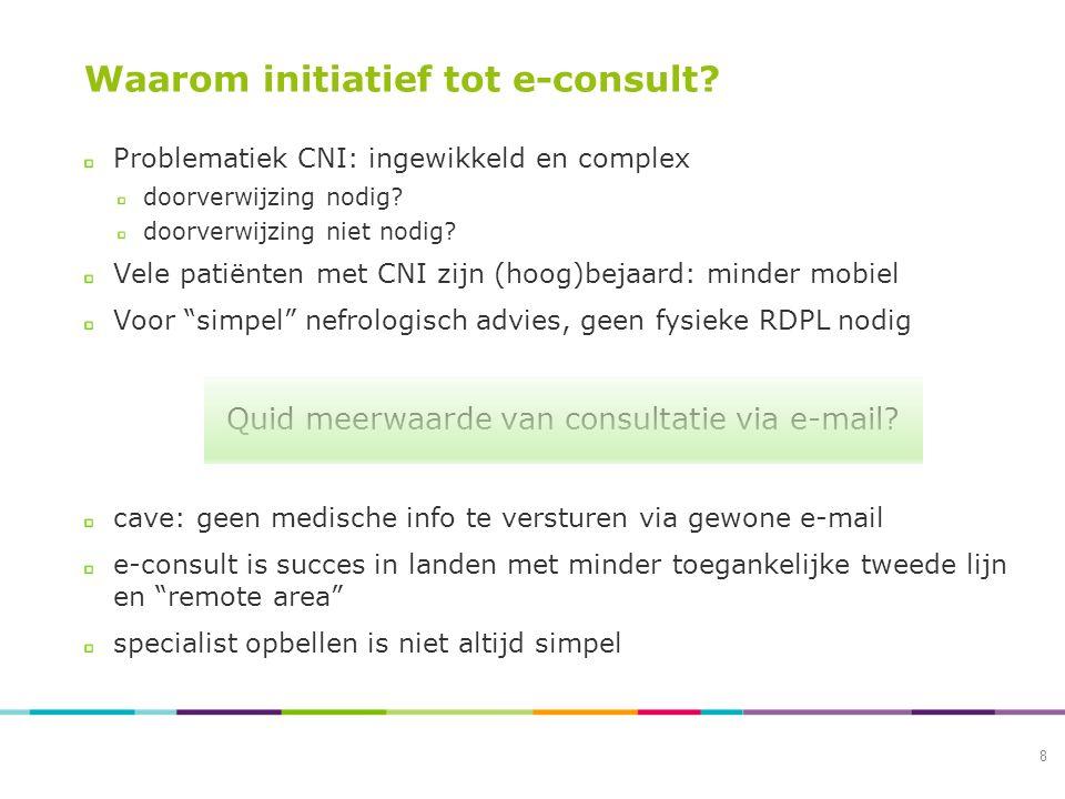 Waarom initiatief tot e-consult. Problematiek CNI: ingewikkeld en complex doorverwijzing nodig.