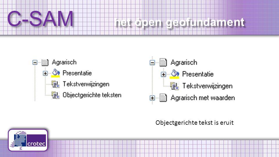 C-SAM het ópen geofundament Objectgerichte tekst is eruit