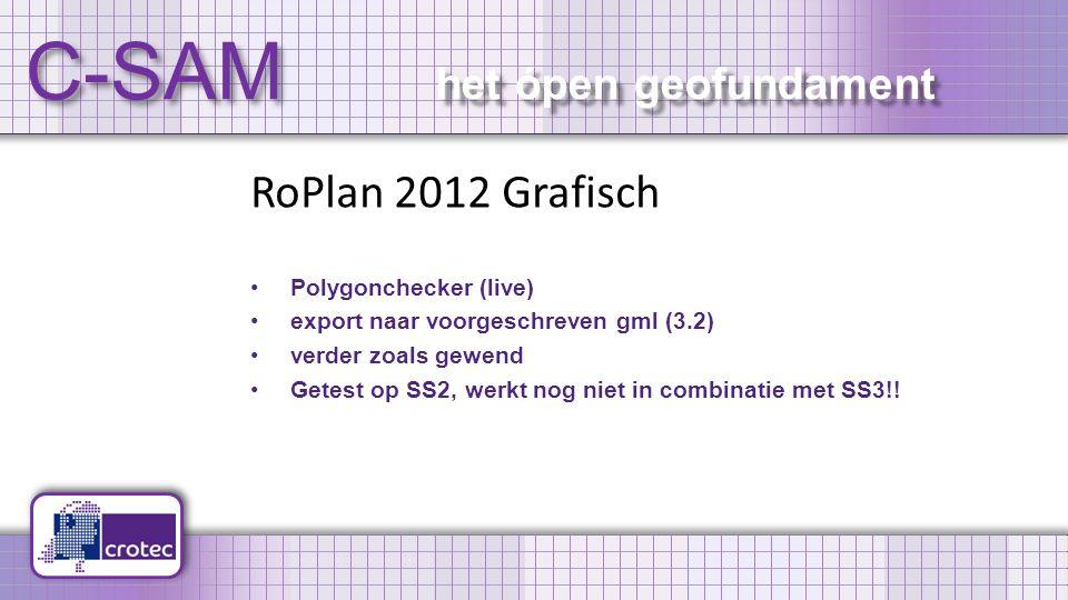 C-SAM het ópen geofundament RoPlan 2012 Grafisch Polygonchecker (live) export naar voorgeschreven gml (3.2) verder zoals gewend Getest op SS2, werkt nog niet in combinatie met SS3!!