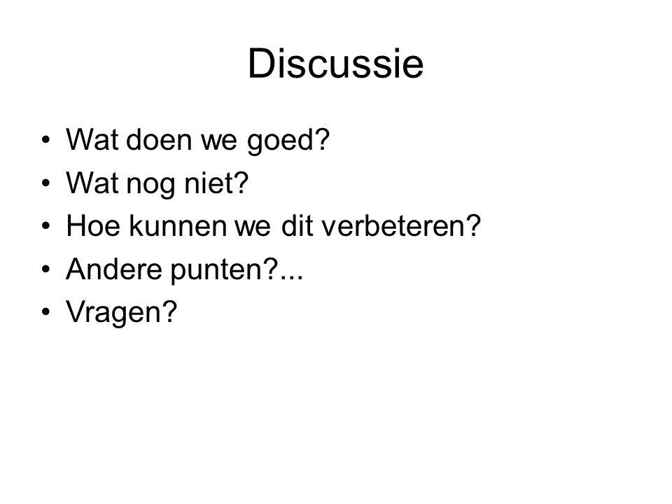 Discussie Wat doen we goed? Wat nog niet? Hoe kunnen we dit verbeteren? Andere punten?... Vragen?