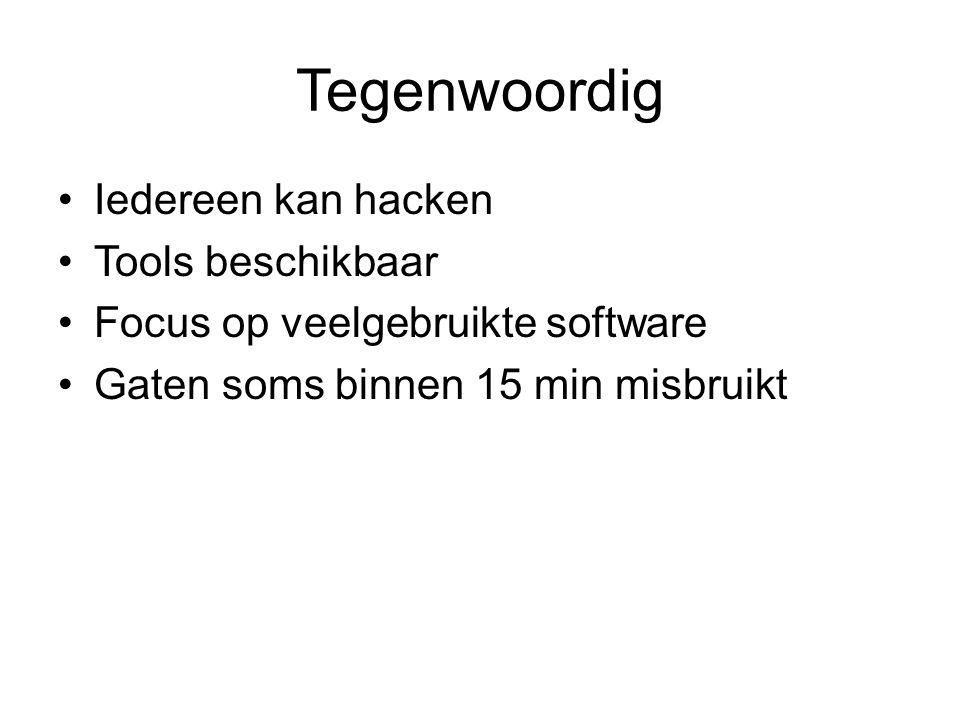 Tegenwoordig Iedereen kan hacken Tools beschikbaar Focus op veelgebruikte software Gaten soms binnen 15 min misbruikt