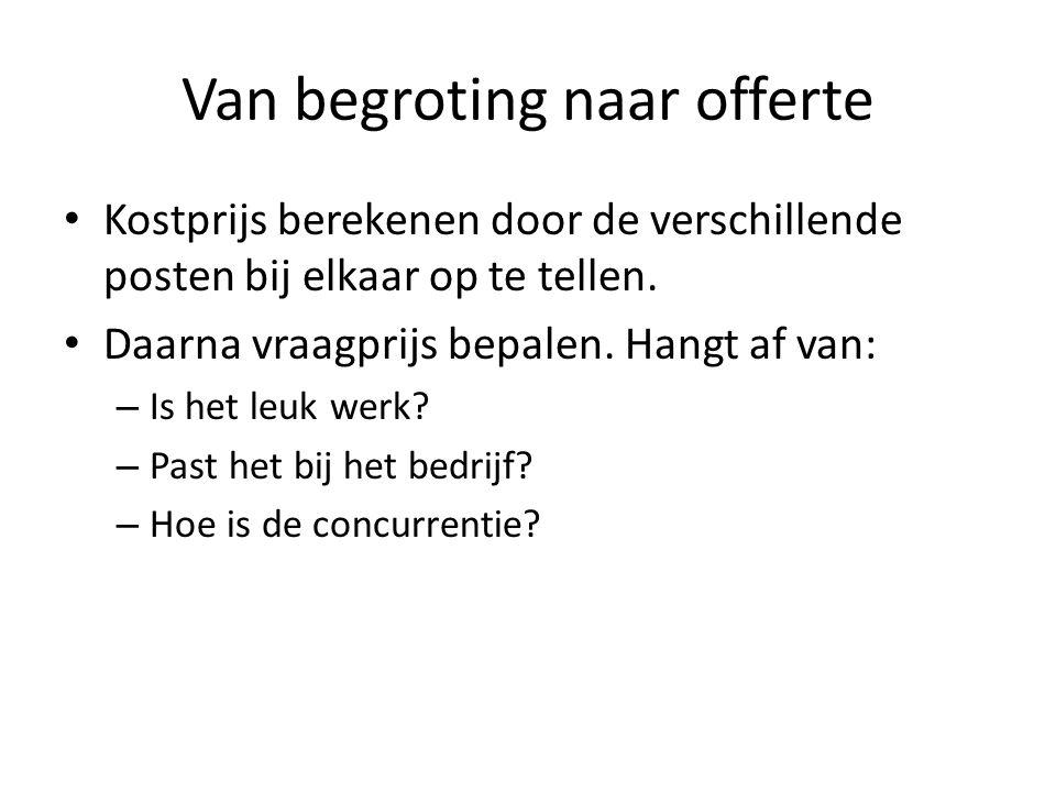 Van begroting naar offerte Kostprijs berekenen door de verschillende posten bij elkaar op te tellen.